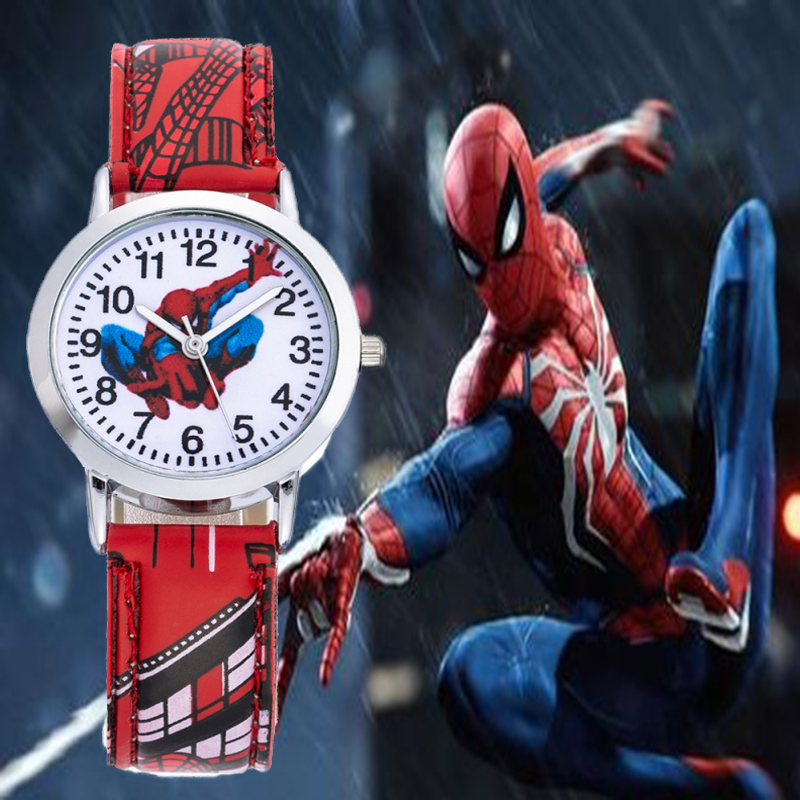 Kids  Waterproof  Spiderman Watch Hodinky Leather Band Quartz Watch Ceasuri Children Boy Girl Gift Clock Kinder Horloge Montre