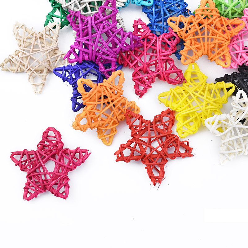 5PCS Artificial Straw Stars Wedding Decorative Flower Wreath Home Christmas Decoration Rattan Ball Curtain Hanging Accessories