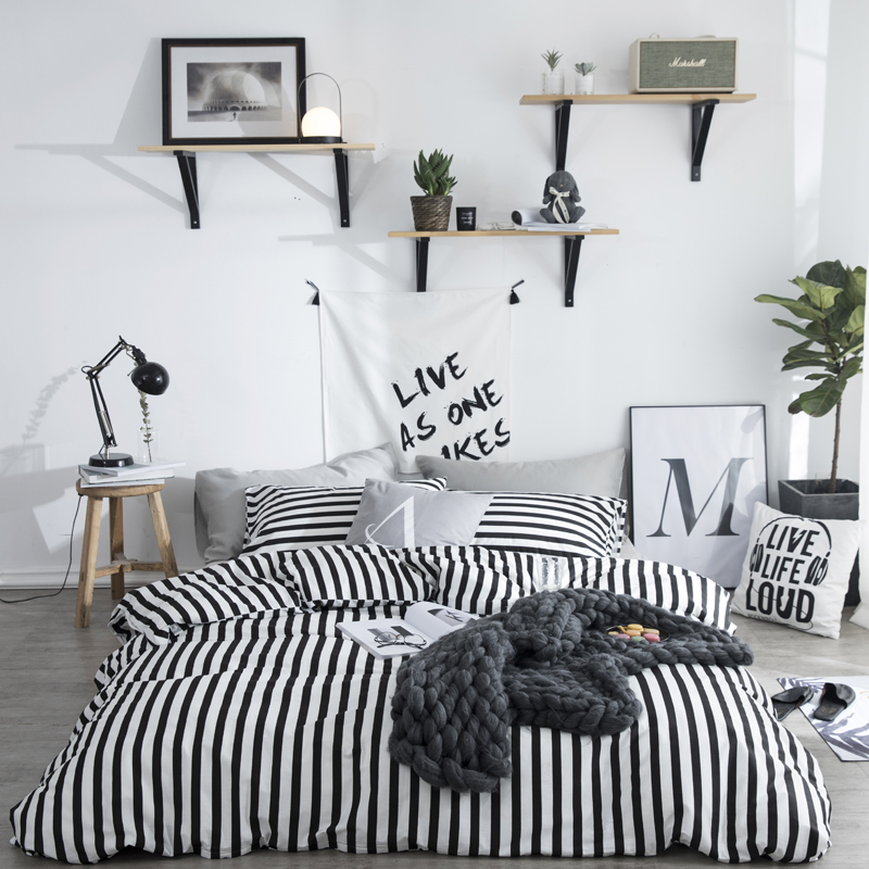 black and white leaf diagonal vertical stripes plaid bedding set full queen size cotton duvet cover flat sheets or fitted sheets