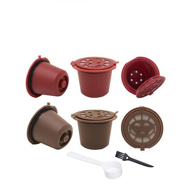 4PCS Nespresso Refillable Reusable Nespresso Coffee Capsule 20ML Filters Reutilisable Coffee Capsule Nespresso Cups Spoon Brush 1