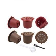 Cápsula de café reutilizável nespresso, 4 unidades, recarregável, nespresso cápsulas de café 20ml, escova de nespresso copos