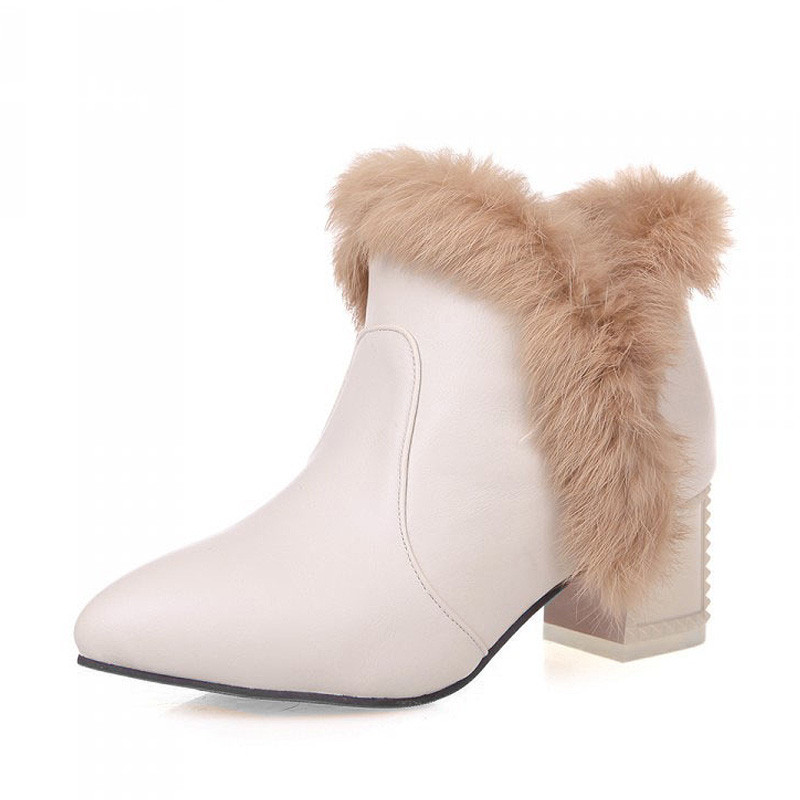 Women Shoes New Fashion 2016 Pointed Toe Leather Ankle Boots Black White Red Rabbit Fur Winter Boot Plus Size 34 43 XKD2073|Ankle Boots| |  - title=