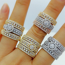 GODKI Luxury 3 in 1 Stackable Wedding Rings for Women Bridal Engagement Wedding Jewelry Cubic Zirconia CZ Accessories Rings helon cubic zirconia cz solid 10k yellow gold pave prongs setting wedding ring engagement rings for women