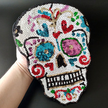 Skull-Head-Patches Stickers Fabric-Patch Embroidery Clothing Strange Biker-Badge Sequins