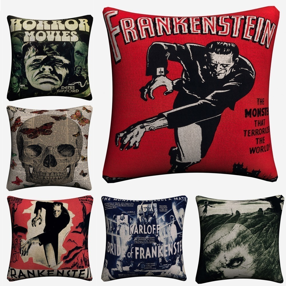 Frankenstein Vintage Movie Art Soft Cotton Linen Cushion Covers 45x45cm Classic Pillowcase For Sofa Home Decoration Almofada image