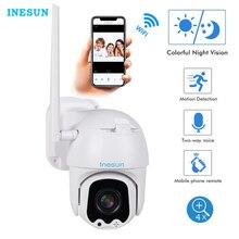 Inesun ptz wifi câmera ao ar livre 2mp hd 1080 p câmera de segurança ip wifi 4x zoom ptz câmera em dois sentidos áudio 165ft visão noturna max 128g