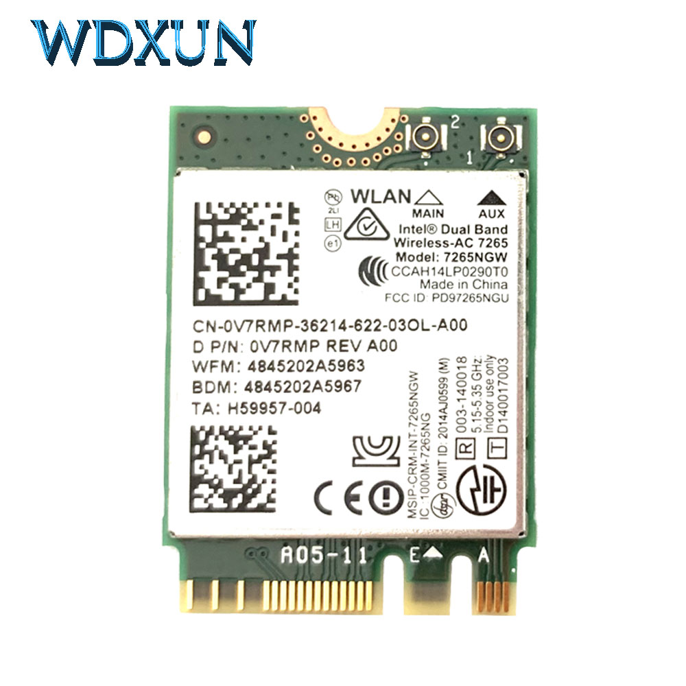 Wireless Card Dual Band Intel Wireless AC 7265 7265NGW Ac7265 7265ac 802.11ac WiFi + Bluetooth 4.0 867Mbps NGFF Lan Card