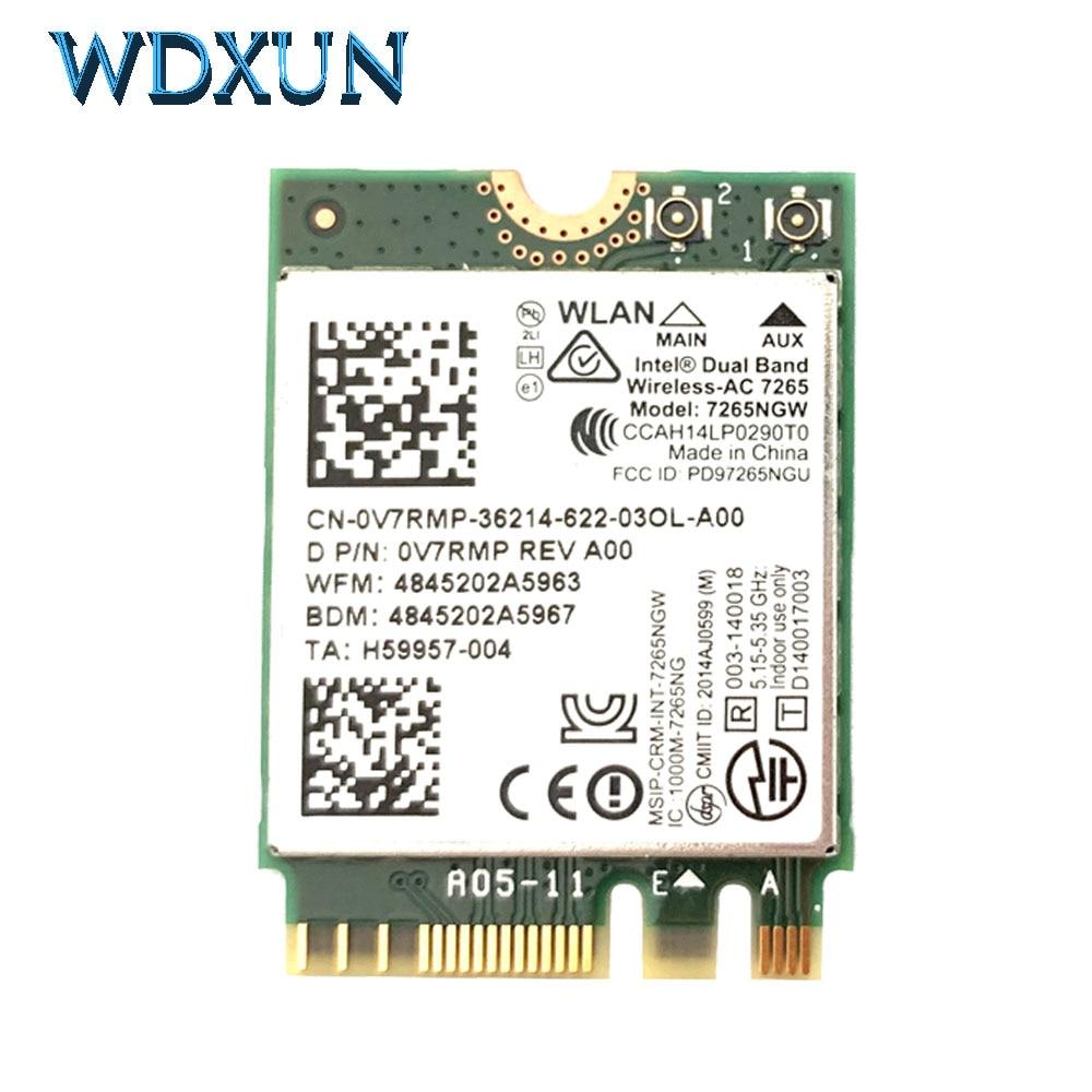 Wireless Card Dual Band Intel Wireless AC 7265 7265NGW Ac7265 7265ac 802.11ac WiFi + Bluetooth 4.0 867Mbps NGFF Lan Card