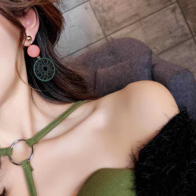 Boho เรขาคณิตวงกลมยาวต่างหูผู้หญิง Vintage ไม้ฟางสานหวาย Drop ต่างหู