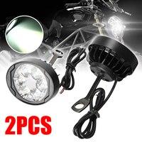 1 paar 6LED Weiß Motorrad Spot Nebel Licht Unterstützen Lampe Scheinwerfer Wasserdicht Vorne Kopf Lampe 10W 300LM Für Honda auf