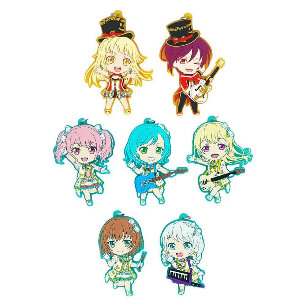 Bang Rêve! Bonjour monde heureux! Pastel * Palettes Anime jeu Hikawa Hina Tsurumaki Kokoro Aya Seta Kaoru Maya porte-clés en caoutchouc
