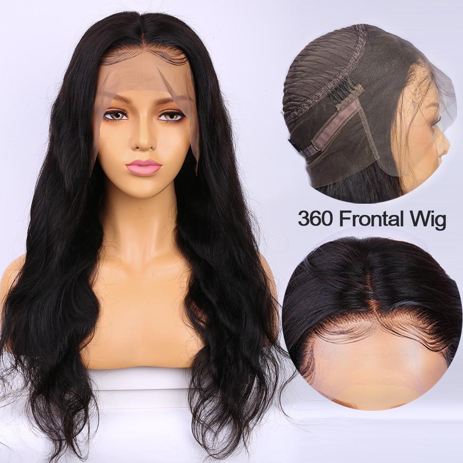 ALIBELE 360 Lace Frontal Wig Peruvian Body Wave 150% Remy Human Hair Wig Pre Plucked 360 Lace Front Wig For Black Women 10-24