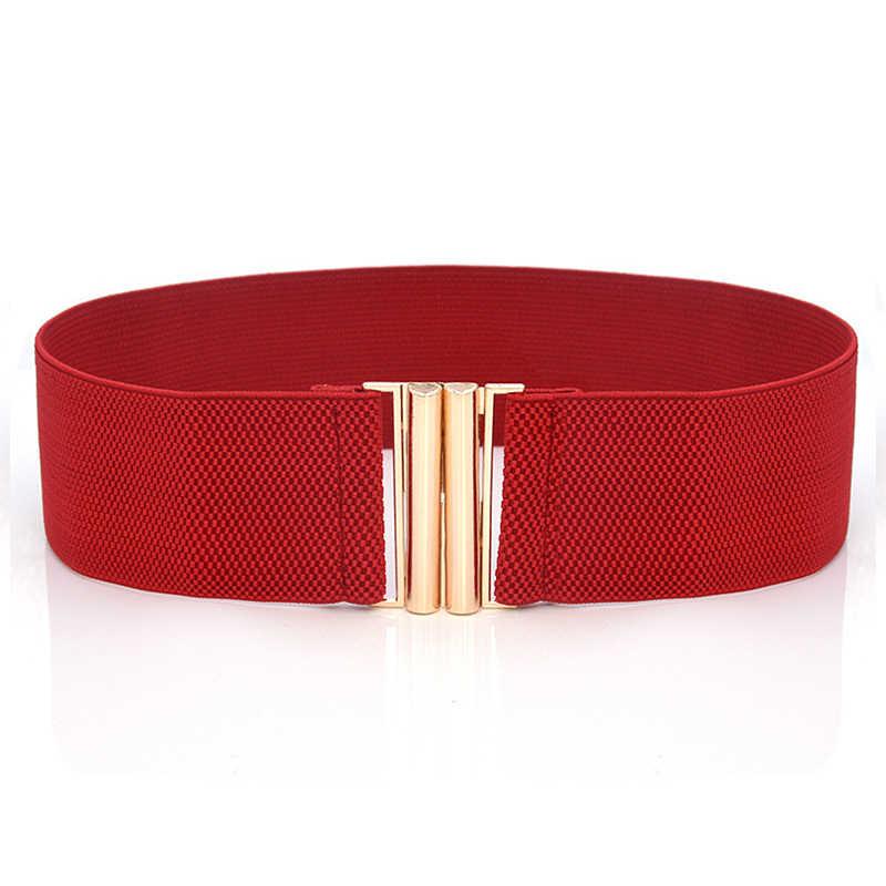 Cinghia Delle Donne Stretch Skinny Elastica Larga Cintura Corsetto Tie Wrap Vita Molle Vintage Femme Rosso Nero Blu Della Cinghia Del Vestito accessori