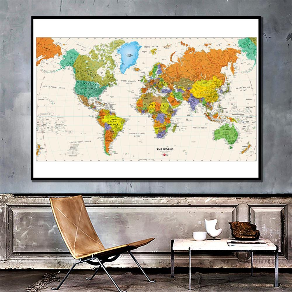 150x100cm World Map Physical Map Foldable Unframed Wall Map Without National Flag For Wall Decoration