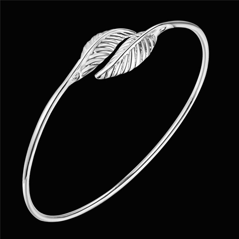 Hot 925 Sterling Silver Bangle Bracelet 925 Silver Fashion Jewelry Double Leaf Bracelet Ahgaiyna Ajwajbda