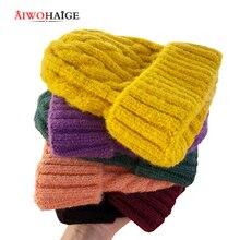Новинка года, зимние женские шапки, Роскошные зимние шапки ярких цветов, Теплая Шапка-бини, мягкие вязаные шапки из хлопка Twis