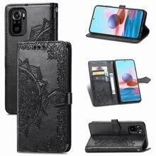 Mandala Bloem Reliëf Lederen Case Voor Xiaomi Redmi Note 10 4G Cases Magnetische Folio Wallet Telefoon Cover Funda