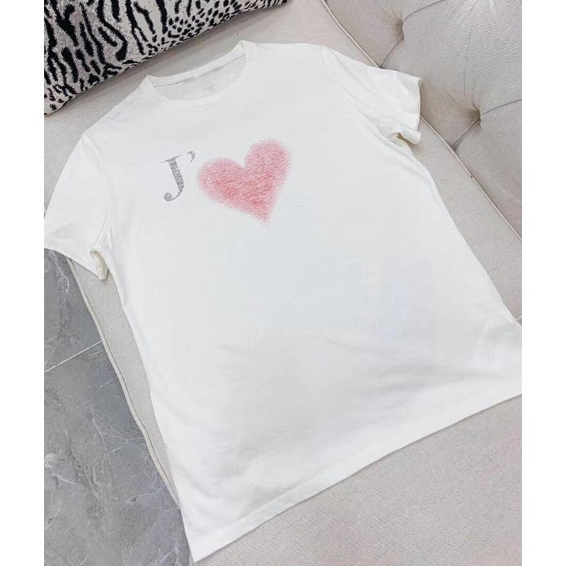 2019 estate t shirt collo rotondo di modo di lettera di amore di stampa T Shirt graffiti a maniche corte in cotone top t shirt da donna-in Magliette da Abbigliamento da donna su  Gruppo 1