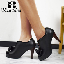 RIZABINA New Women High Heel Shoes Bowknot Platform Vintage Pumps Round Toe Office Lady Party Wedding Footwear Size 34-48