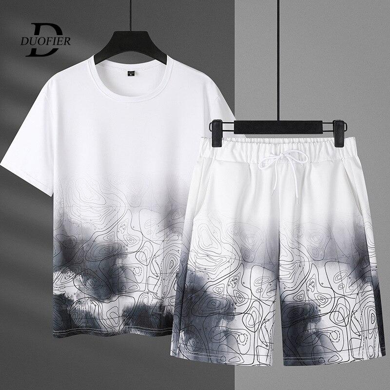 Комплект спортивный мужской из 2 предметов, дышащая Повседневная футболка и шорты, модный костюм с принтом в стиле Харадзюку, размеры до 7XL, н...