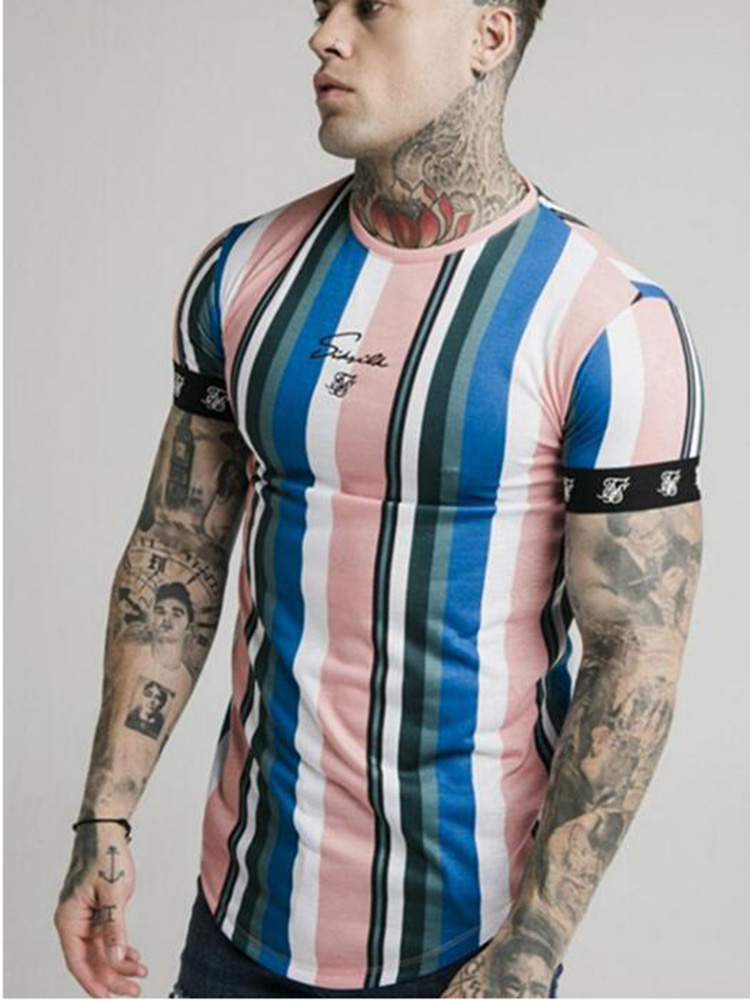 Sik Silk Screen Casual T-Shirt Summer New Fashion Men's Street Hip-Hop Striped Short-Sleeved T-Shirt Polyester Quick-Drying