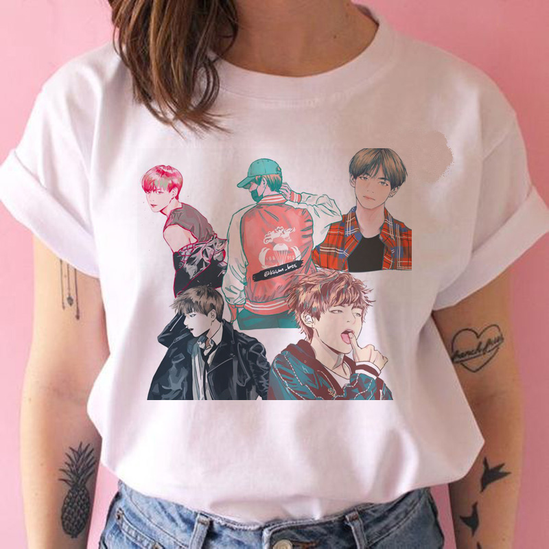 Bangtan Boys T Shirt Women Korean Style Oversized Kpop Tshirt Female Ulzzang Harajuku JIN SUGA J HOPE JIMIN V JUNGKOOK T-shirt