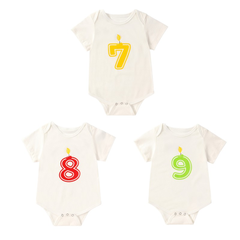 Toddler Newborn Baby Boys Girls Rompers Solid Color Digital Number 7 to 9 Print Short Sleeve Jumpsuit 0-18M