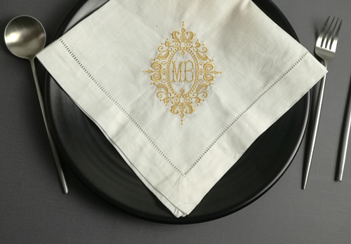 Set Of 12 Fashion Monogrammed Dinner Napkins Hemstitch Linen Table Napkins 20