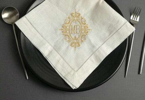 Set Of 12 Fashion Monogrammed Dinner Napkins Hemstitch Linen Table Napkins 20
