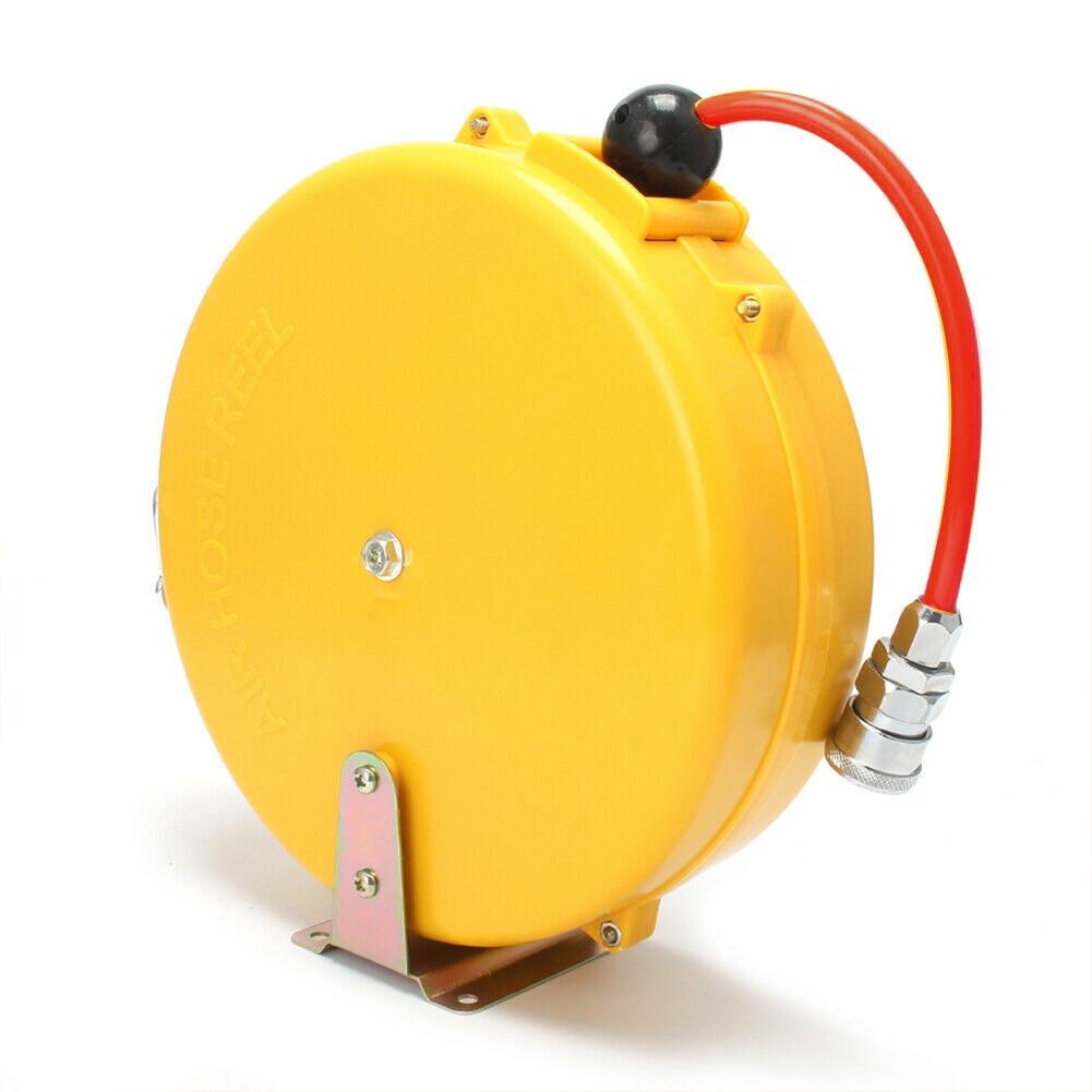 8M Mini Home Tool Auto 180 Degree Swing Retractable Enclosed Locking 5x8mm Pneumatic Accessory Repair Plant Air Hose Reel PP