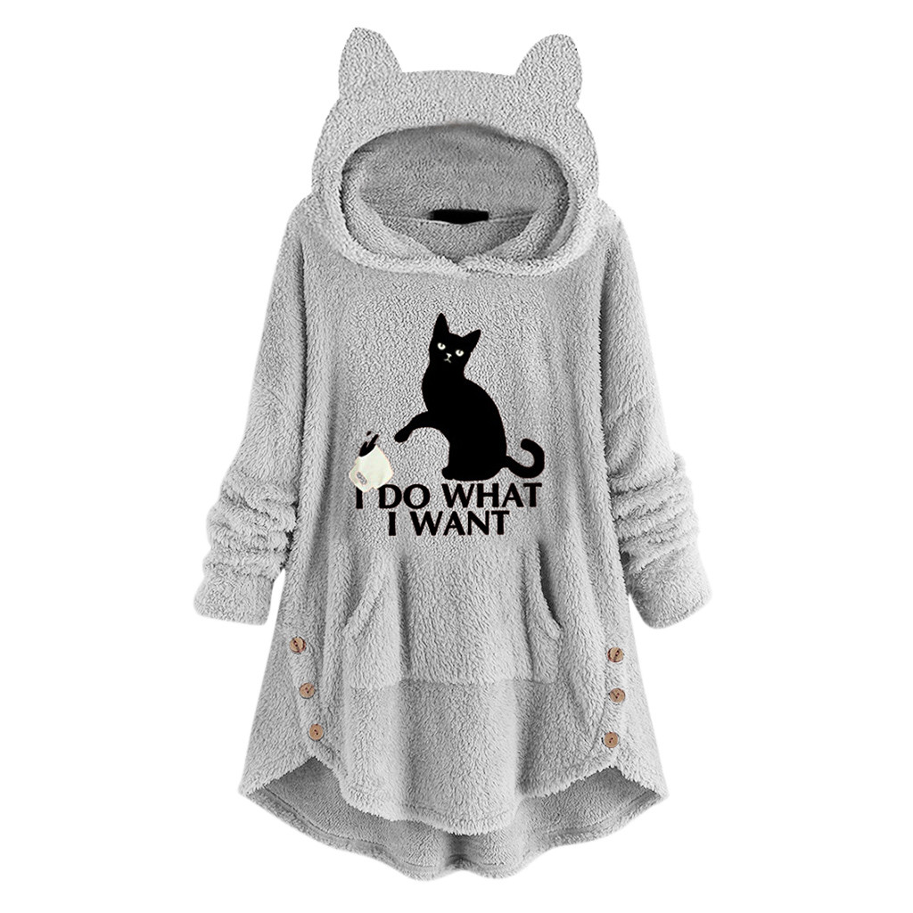 Feitong Winter Coat Women Hoodies Sweatshirt Fleece Embroidery Cat Ears Button Hem Plus Size Hoodie Top Pocket Female Blouse|Hoodies & Sweatshirts|   - AliExpress