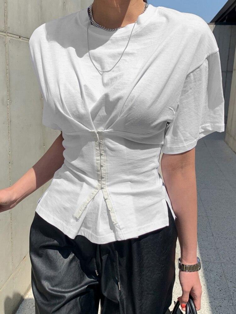 Новинка 2021, Модный облегающий корсет, короткая белая футболка с широкими плечами и коротким рукавом, с круглым вырезом, модный топ