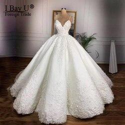 Vestidos de casamento floral do laço do vintage 2020 casamento 3d flor vestidos de baile de noiva querida rendas acima vestido de noiva plus size gelinlik