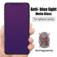 Vidrio Templado mate esmerilado para IPhone, Protector de pantalla de cristal, color púrpura, azul, antiuv, para IPhone 11 Pro, XS, Max, XR, X, 8, 7, 6, 6s Plus