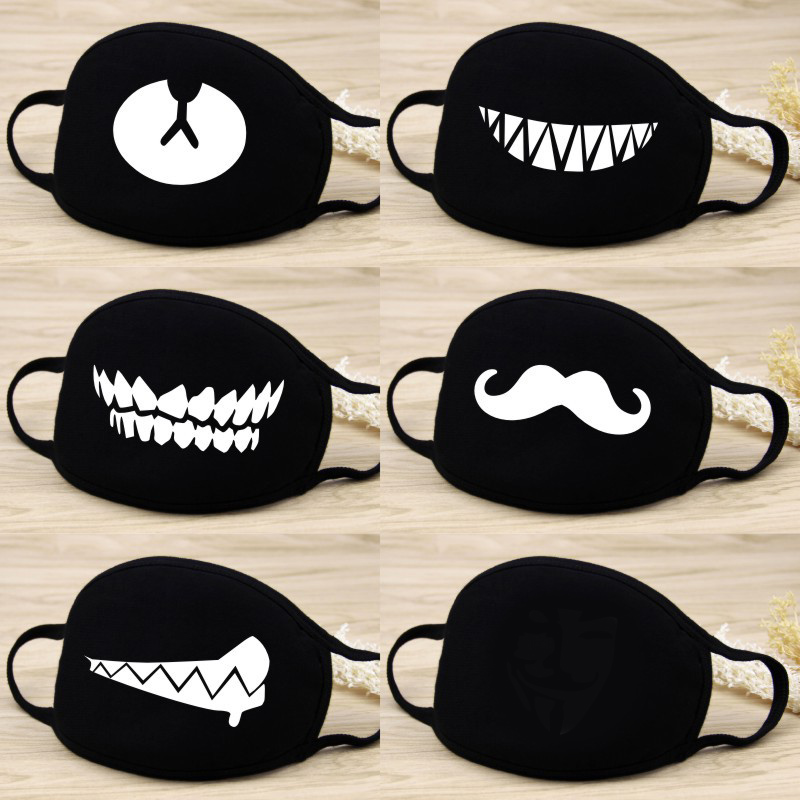 Men Women Kpop Mask Winter Keep Warm Mask Cute Teeth Smile Bear Mask Creative Cotton Cool Travel Mask Decorative Black Props
