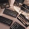 Brincos femininos conjunto retro coreano geométrico brincos para mulheres coreano ouro pequeno metal pérola brinco 2021 tendência jóias 1