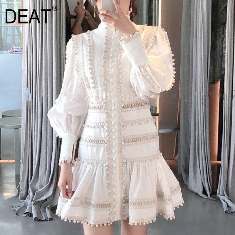 DEAT 2021 yeni yaz moda kadın giyim fener kollu tek göğüslü ruffles hollow out mini boy elbise WK28000l