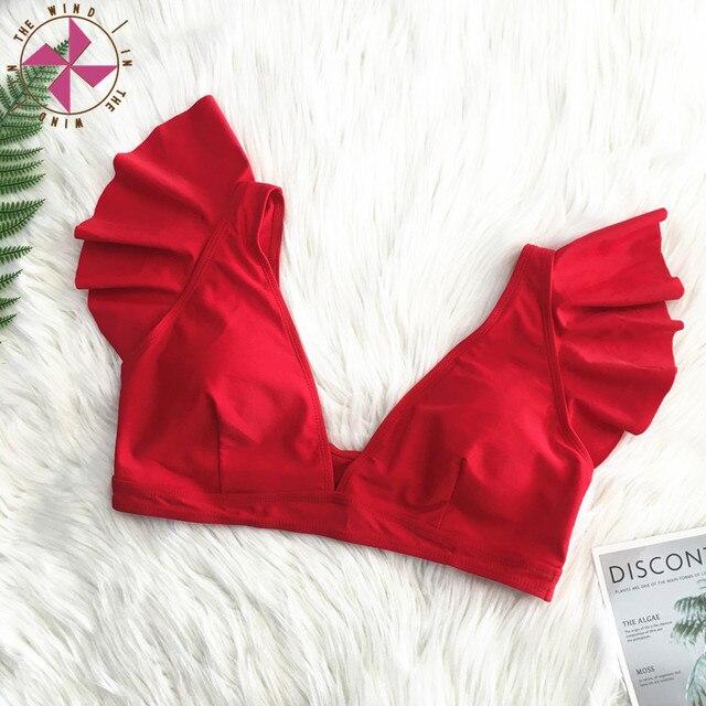 Solid Ruffled V-Neck Bikini Top