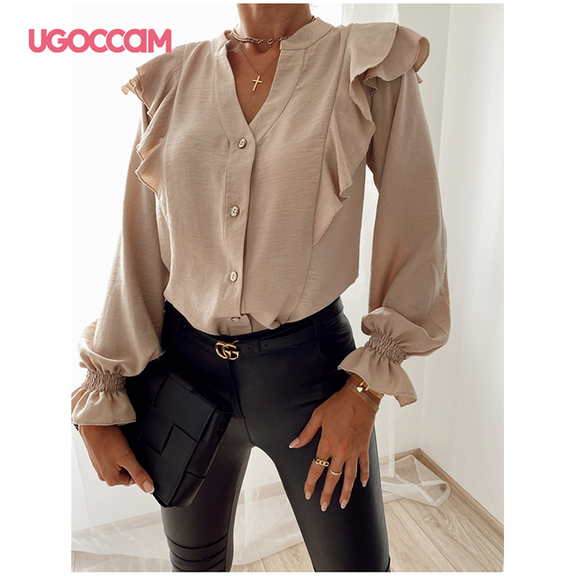 UGOCCAM Women Blouse Office Ladies Sexy Ruched Shirts Autumn Long Sleeve Elegant Casual Solid Shirts Tops Plus Size Tops Ropa Mu 1