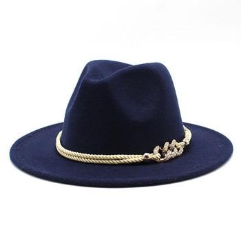 Black/white Wide Brim Simple Church Derby Top Hat Panama Solid Felt Fedoras Hat for Men Women artificial wool Blend Jazz Cap 20