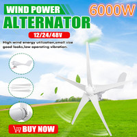 6000W 12/24/48V Wind Power Turbines Generator 3/5 Wind Blades Option With Waterproof Charge Controller Fit for Home Or Camping