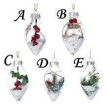 Christmas Tree Drop Ornaments Plastic Ball Transparent Hanging Xmas Pendant Home Decorations