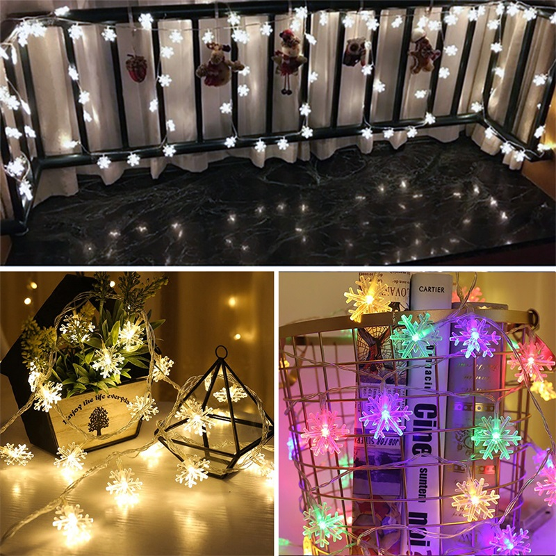 LED Snowflake String Lights Snow Fairy Garland Decoration For Christmas Tree New Year Room Valentine's Day Ornament Lights
