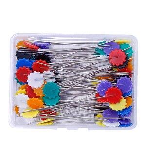 100 шт./кор. булавки для шитья вышивка в стиле пэчворк шпильки смешанные Цвет булавки для шитья и пэчворка цветочные бутоны шпильки швейная инструмент для искусства