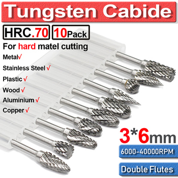 цена на 10 Pcs/set 6mm Tungsten Carbide Double Cut Rotary Point Burr 1/8 Shank Fit Rotary Tools Die Grinder Shank Rotary Burr Tools Hot