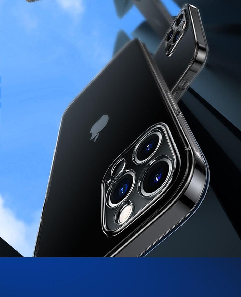 H4f7ea3daf5f94159a414fa7ddae5a8ffj Capinha celular iphone case Proteção da lente da câmera clara caixa do telefone para o iphone 12 pro max silicone macio capa para o iphone 12 mini à prova de choque capa traseira presente