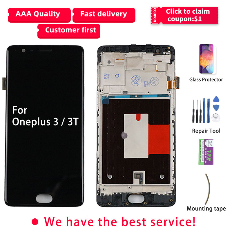 LCD For Oneplus 3 Display Oneplus 3T Display TFT Touch Screen With Frame A3010 Three 1+3 3 T Replacement A3000 A3003