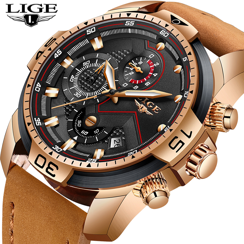 2020 LIGE Top Luxury Brand Men Analog Leather Sports Watches Men's Army Military Watch Male Date Quartz Clock Relogio Masculino