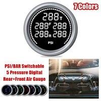 Car Air Suspension Pressure Gauge Bar & PSI 2'' 52mm Air Press Boost Air Ride Meter 7 Color LED Display 1/8NPT Sensors