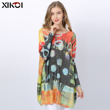 XIKOI Winter Wool Oversized Sweaters For Women Pullovers Dress Fashion Patchwork Knit Circles Print Jumper Loose Warm Pull Femme loose knit drop shoulder jumper